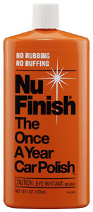 A 16 oz bottle of Nu Finish Liquid Car Polish