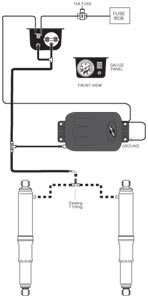 Schematic of an installed Air Lift 25804 Air Shock Controller Kit