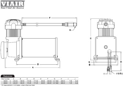 Dimensional design drawing for the Viair 35030 350C Air Compressor