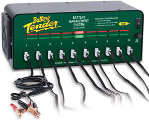 The Deltran Battery Tender 12-volt/2-amp 10-Bank Battery Management System with alligator clips and output cords