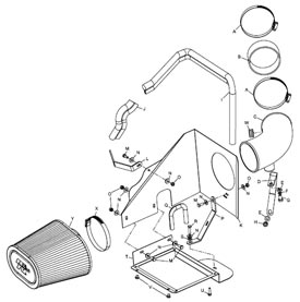 Detailed installation instructions and parts list for the Kamp;N 57-3045 Fuel Injection Air Intake Performance Kit