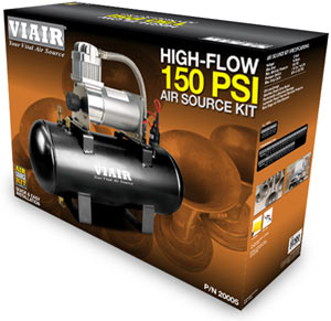 Packaging for the VIAIR 150 PSI High-Flow Air Source Kit