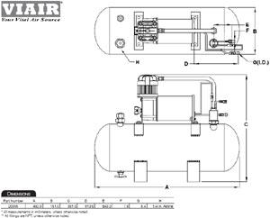 Dimensional design drawing for the VIAIR 150 PSI High-Flow Air Source Kit