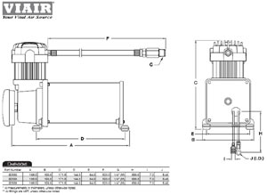 Dimensional design drawing for the 325C compressor included with the VIAIR Medium Duty Onboard Air System
