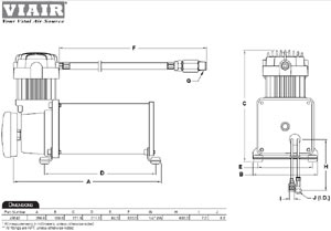 Dimensional design drawing for the 450C compressor included with the VIAIR Constant Duty Onboard Air System