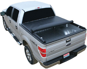 A TruXedo TruXport roll-up tonneau cover installed on a F150