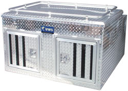 Side, angled view of the UWS DB-4848N 48-inch Northern 2-Door Deep Dog Box with Divider