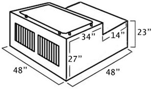 Dimensions of the UWS DB-4848N 48-inch Northern 2-Door Deep Dog Box with Divider