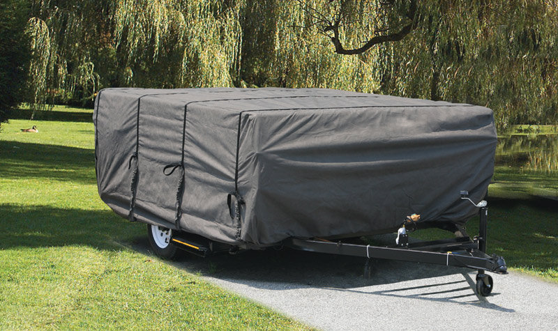 The Camco Ultraguard Pop-up trailer Cover in use & Amazon.com: Camco 45761 8u0027-10u0027 ULTRAGuard Pop-Up Camper Cover (46 ...