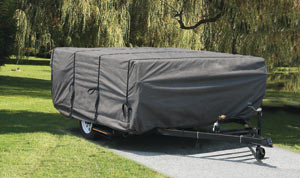 The Camco Ultraguard Pop-up trailer Cover in use