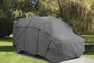 The Camco Ultraguard Van Cover in use