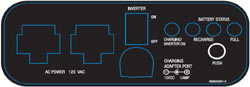 Contol panel layout of the Schumacher PP-2200 Portable Outdoor Power Unit
