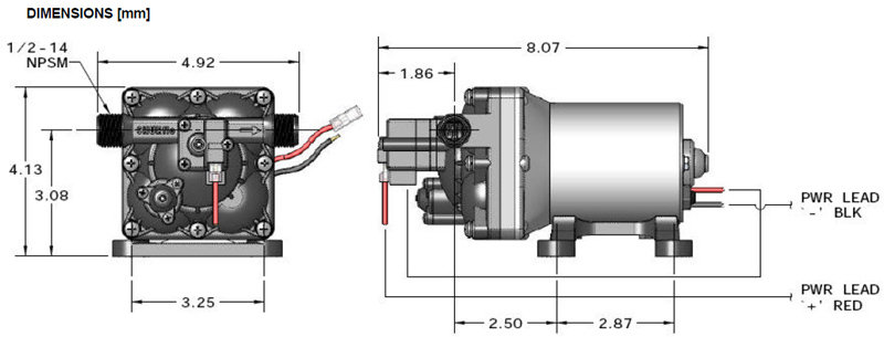 com shurflo e revolution water pump automotive schematic of the shurflo 4008 101 e65 3 gpm 55 psi revolution pump