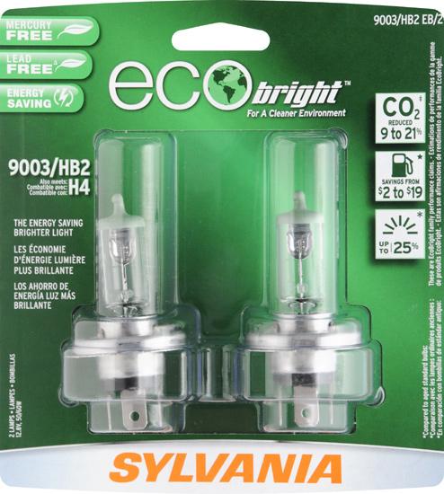 Sylvania EcoBright 9003 HB2 EB BP headlight retail twin package