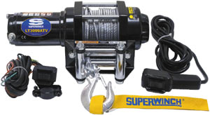 The Superwinch LT3000 ATV Winch with included rubberized remote, solinoid and fairlead