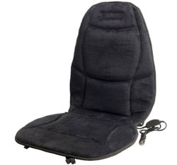 Front view of the Wagan IN9438 Soft Velour Heated Seat Cushion showing the DC power adapter