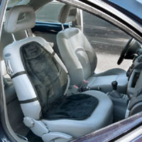 The Wagan IN9438 Soft Velour Heated Seat Cushion installed on passenger side with straps