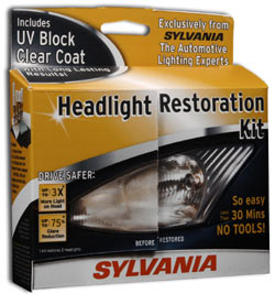 The Sylvania Headlight Restoration Kit package front