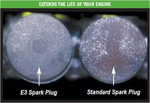 Side by side comparison of carbon build-up in an engine using E3 spark plugs vs. one using standard plugs