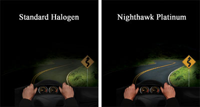 Illumination of road with standard halogen lights compared to GE Nighthawk Platinum