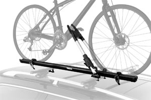 The Thule Big Mouth Upright Rooftop Bicycle Carrier mounted on a car rack
