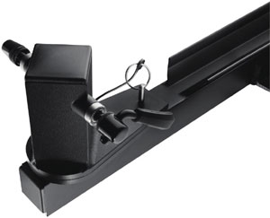 The pivoting pillar head with pin release of the Thule Tandem Bicycle Pivoting Roof Mount Carrier