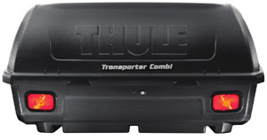 Thule 665C Transporter Combi Hitch-Mount Cargo Box seen from the back showing pre-wired tail lights