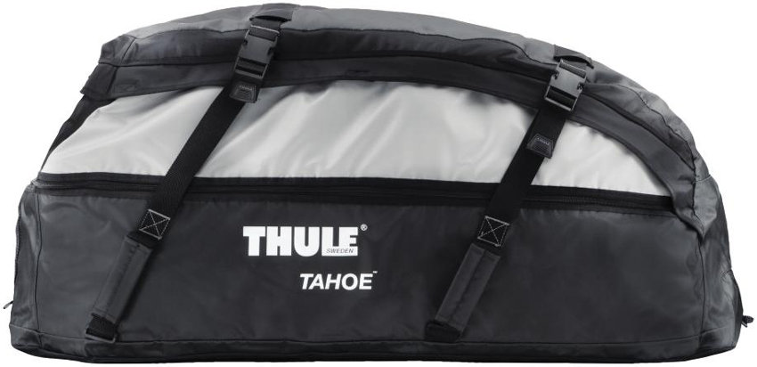 Close Up Side View Of The Thule 867 Tahoe Rooftop Cargo Bag Expanded Out To Maximum