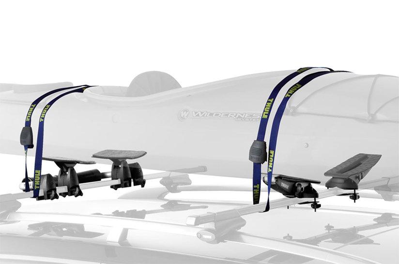 The Thule 884 Roll Model Kayak Roof Rack Mount Carrier Securing A Sea Kayak