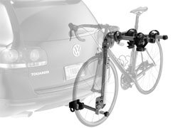 Thule Helium 2-Bike Hitch Carrier mounted on a small car