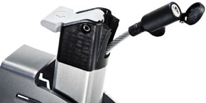 Retractable locking cable included with the Thule Helium 2-Bike Hitch Carrier
