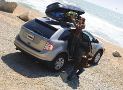 A mounted Thule Ascent Rooftop Cargo Box used to haul gear to the beach