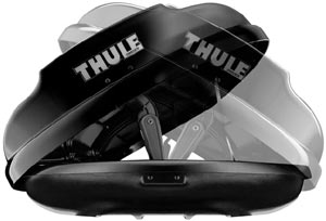A demonstration of the dual-side opening capabilities of the Thule Ascent Rooftop Cargo Box