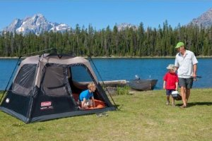 Nothing kills a c&site buzz like a tent with too many poles and too little instruction. Enter the Coleman Instant Tent 4 a four-person tent that sets up ... & Amazon.com : Coleman 4-Person Instant Cabin : Family Tents ...