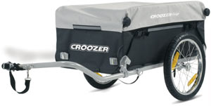 Croozer Designs cargo bicycle trailer with hitch arm in the standard hauling position and cover on