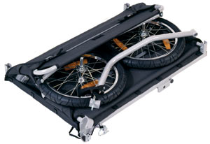 The Croozer Designs cargo bicycle trailer in the folded position