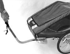Pull arm functionality of the Chariot bicyle trailer conversion kit