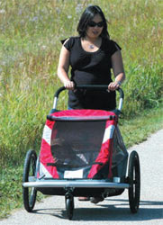 The Croozer 525 double child carrier being used in stroller mode