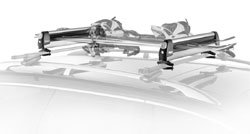 The Thule 91726 Universal Pull Top Ski and Snowboard Carrier mounted on a rack