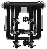The Thule 9002 raceway 3-bike trunk mount carrier folded up