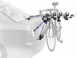 The Thule 9010 Archway Rear Mounted 3-Bike Trunk/Strap Rack mounted on a car trunk