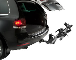 The Thule T2 2-Bike Platform Hitch Rack not in use but using Hitch Switch functionality to lean back allowing rear access