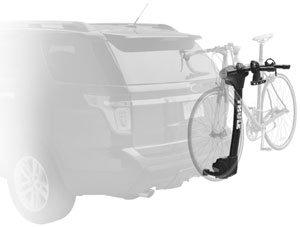 The Thule Vertex 9028 2-bike hitch rack mounted on a car