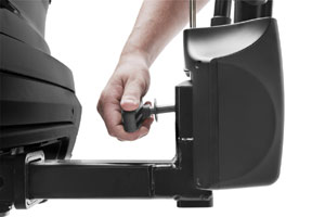 The hitch switch of the Thule Vertex 9028 2-bike hitch rack carrier