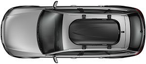 View of the Thule 614 Pulse M Roof Box mounted atop a vehicle