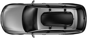 Side view of the Thule 624 Force M Roof Box mounted atop a vehicle