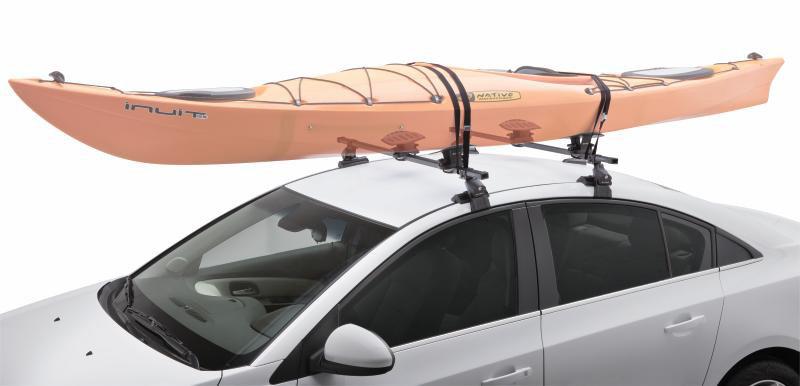 The SportRack SR5512 Saddle Kayak Carrier Loaded With A Kayak