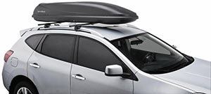 The SportRack SR7011 Horizon 11 Inch Cargo Box Mounted On A Roof Rack