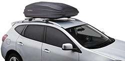 The SportRack SR7018 Vista XL 18-inch cargo box mounted on a roof rack