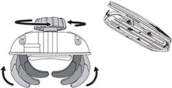 A demonstration of the AcuTight mounting knobs of the Thule 612 Hyper cargo box